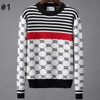 GUCCI autumn and winter new striped color matching jacquard letter round neck shirt T-shirt #1