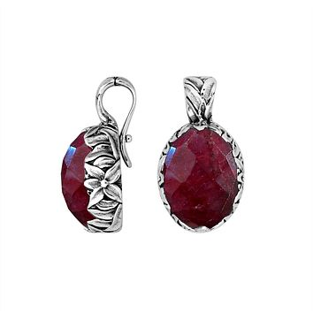 AP-8030-RB Sterling Silver Oval Shape Pendant With Ruby & Enhancer Pendant Bail
