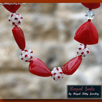 Royal Jade, handmade necklace,  red necklace, jade necklace, red jade necklace