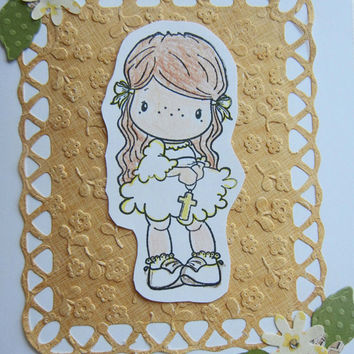 First Holy Communion Handmade Card, Holy Eucharist Card, Communion Card for Girl
