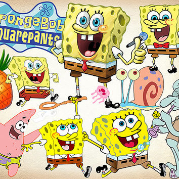 57 Sponge Bob Clipart PNG Digital Graphic Image Sponge Bob Clip Art Scrapbook Sponge Bob Invitations INSTANT DOWNLOAD printable 300 dpi