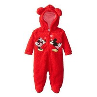 Disney Disney Minnie & Mickey Mouse Infant Girls Red Faux Shearling Snowsuit Baby Pram