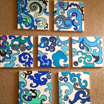 "36""X36"" Original Acrylic Painting FREE SHIPPING 7 set Canvas Wall Decor Abstract Pattern rich blue green turquoise gray white purple black"