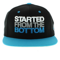 The Start From The Bottom SNAPBACK - Black & Aqua By Large Paper