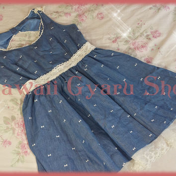 Pinky Girls Denim & Lace Dress (NwoT)