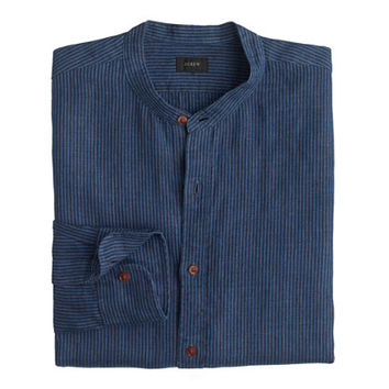 J.Crew Mens Linen Band-Collar Shirt In Coastline Navy Stripe