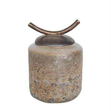 Antique Porcelain Covered Jar With Ox Horn Lid, Gray And Brown