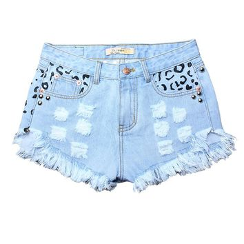 Woman plus size leopard print denim shorts with rivets Street wear holes sequined jeans shorts attrited ripped shorts ZIH170