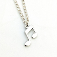 Music Note Necklace, Eighth Note Necklace, Silver Minimalist Necklace, Musical Note Necklace, Sterling Silver Necklace