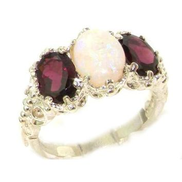 Victorian Design Solid English Sterling Silver Natural Large Opal & Garnet Ladies Ring - Finger Sizes 5 to 12 Available