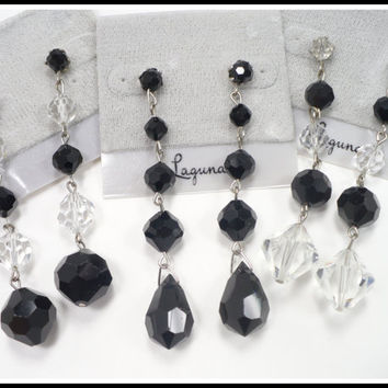 Vintage LAGUNA Clear & Black Crystal Earrings, Long Black Earrings, Pierced Shoulder Dusters, Boho Hippie Style