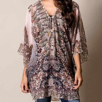 India Print Flowy Short Kaftan