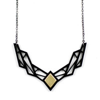 Lattice Acrylic & Brass Necklace
