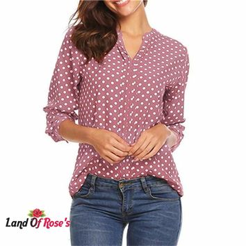 Plus-Size Polka Dot Chiffon Blouse Women Tops Ladies Office Shirts  4XL ,5XL Blouse
