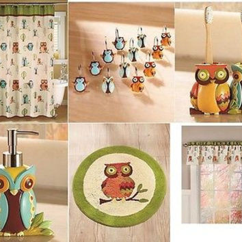 Bathroom Set Accessories Owl Collection Curtain Hook Towels Rug Holder Dispenser