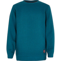 River Island Boys teal quilted sweatshirt