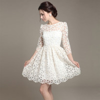 Elegant Womens Trendy Lace Sunflower Pattern 3/4 Sleeve Ball Dress White  7_S = 1919618756
