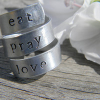 eat, pray, love 3 twist spiral aluminum  1/4 inch