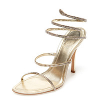 "Crystal Metallic Leather 4 1/4"" Wrap Sandal by Rene Caovilla at Gilt"
