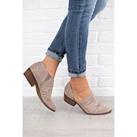 Take It For Me Not Rated Cutout Booties (Taupe)
