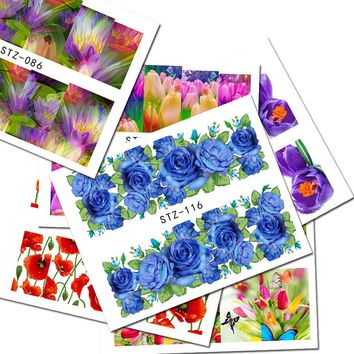 1sheets Hot Flower Nail Art Stickers Water Transfer Decals Wraps Beauty Charm Foils Full Cover Temporary Tattoos Tools NC085