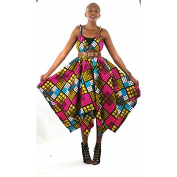 African Print Assymetrical Dress - Pink/Brown Geometric Print
