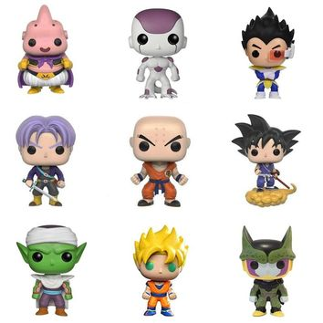 Hot Dragon Ball MAJIN BUU PICCOLO VEGETA TRUNKS PERFECT CELL 10cm Action Figure Bobble Head Q Edition For Car Decoration Toys