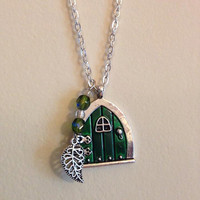 Green Hobbit Necklace- Hobbit Hole Door - Lord of the Rings Middle Earth, Shire Inspired Pendant- Nerd Jewelry Geek Gift LotR Tolkien