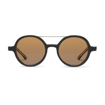 Komono - Vivien Black Gold Sunglasses / Polycarbonate Gold Mirror Lenses