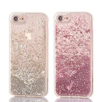 Diamond Soft TPU Edge Side Rose Gold Pink Balls Beads Glitter Liquid Dynamic Cover Case For iPhone 8 6 6S 7 Plus