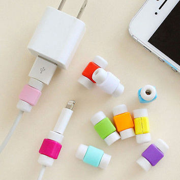 5/10X Protector Saver Cover for iPhone Lightning USB Charger Cable Cord BD