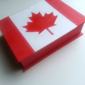 Keepsake Box - Oh Canada! Flag of Canada Nations Flag Design 5x7 Hand-bound Handmade Gift Customized