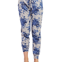 Terry Knit Floral Print Joggers | Wet Seal