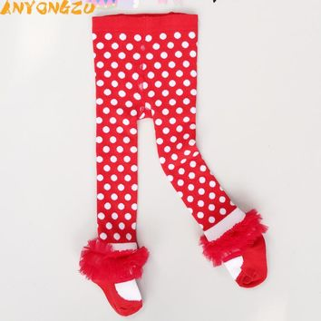Girls Dot Red Children Christmas Leggings