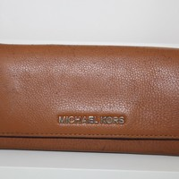 Michael Kors Soft Luxurious Leather Signature Flap Wallet in Luggage