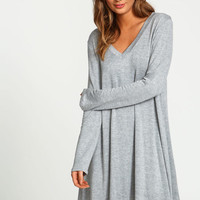 GREY V NECK SWING TEE DRESS