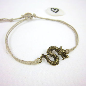 Upcycled Hemp Anklet Dragon Anklet Charm Anklet Fantasy Anklet Adjustable Anklet Hippie Boho Bohemian Gypsy Tribal Jewelry