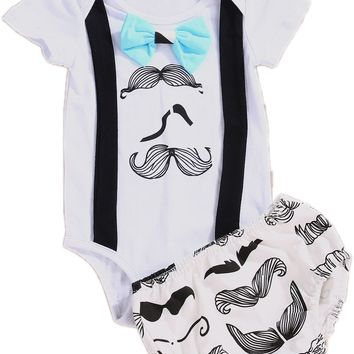 2017 Summer Newborn Infant Baby Girls Boys Suspender Tops Bow Tie Romper Shorts Clothes Outfits 2PCS