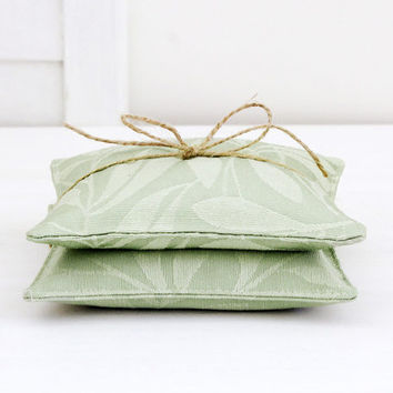 Green Leaf Lavender Sachets, Romantic Shabby Decor, Summer Decor