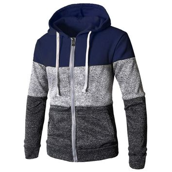 Stitching Sweater Men Hooded Winter Solid Thicken Outwear Sweater coat Casual Cardigans