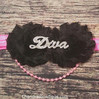 Black and Hot Pink Rhinestone Diva Headband! With or Without Pearls.