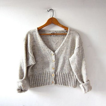 Vintage oatmeal sweater. Cropped cardigan sweater. Button up sweater.