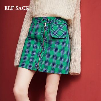 ELF SACK Autumn New Woman Skirts Casual Plaid MIni Women Pleated Skirt Vintage Harajuku Elegant Bodycon Women Skirt Femme Skirts