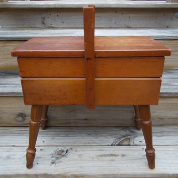 TREASURY ITEM Vintage Wooden Sewing Box on Legs
