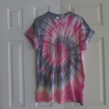 Colorful Swirl Tie Dye Unisex Tee Shirt in Fuchsia, Black, Tangerine, and Lemon Yellow