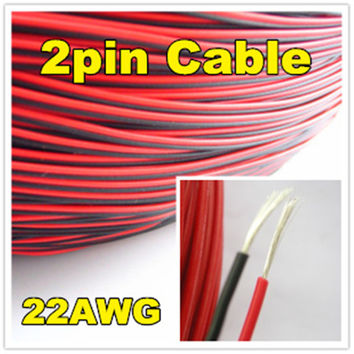Electrical Wire Red Black Tinned Copper 2 Pin 22AWG insulated PVC Extension LED Strip Electronic Cable StrandeWire DIY Connector