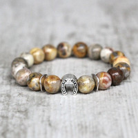 Lucky bracelet silver horseshoe jewelry gift for friend equestrian gift wife gift boyfriend gift agate for husband birthday gift anniversary