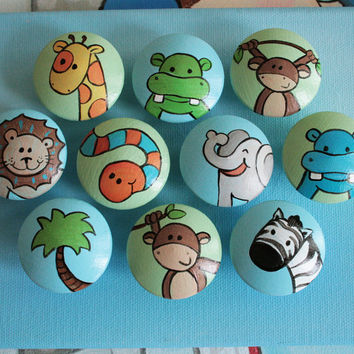 Hand Painted Animal Drawer Pulls / Dresser Knobs (Blue/Green Background)