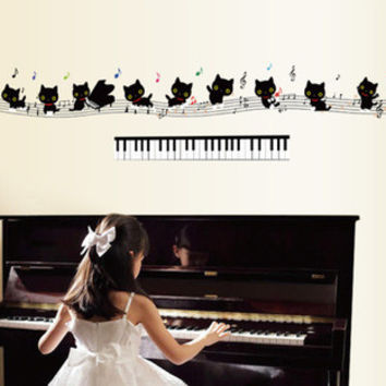 Cat note staff wall stickers stickers children kindergarten classroom piano room shop decoration SM6