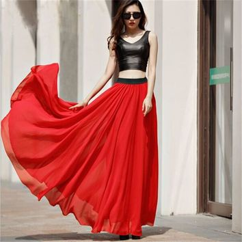 WBCTW Beach Skirt 9XL 10XL Plus Size Solid A-line Style Maxi Chiffon Swing Woman Skirts Spring Summer Red High Elastic Skirts